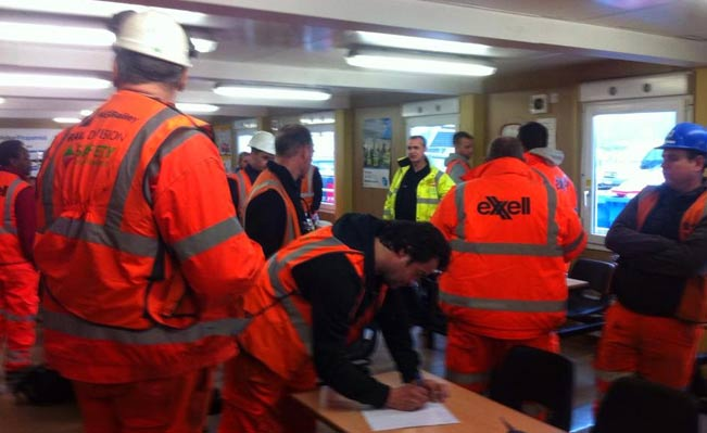 Electricians strike in Three Bridges, Crawley. Photo: Site Worker