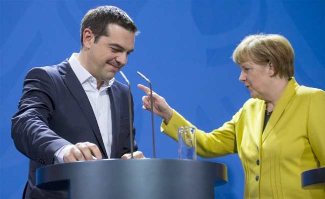 German Chancellor Angela Merkel and Greek Prime Minister Alexis Tsipras. Photo: Reuters