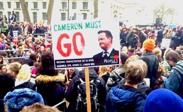 Thousands march outside Downing Street calling for David Cameron's resignation. Source: @Taaliah76