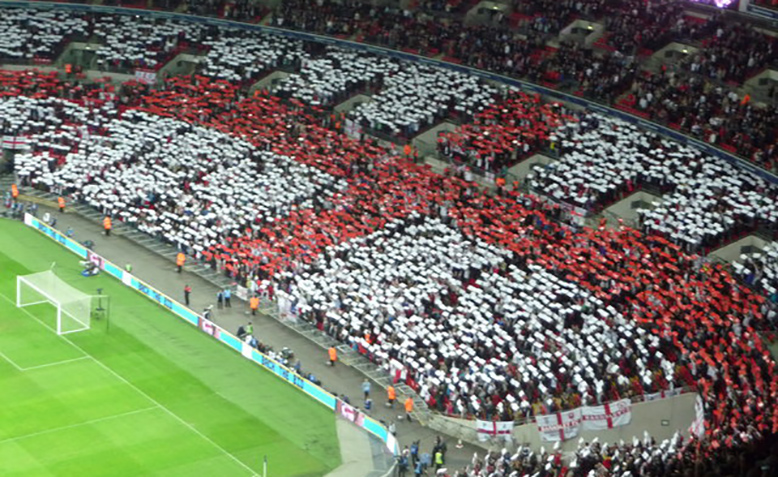 England fans create St George's cross at Wembley. Photo: geograph.org.uk