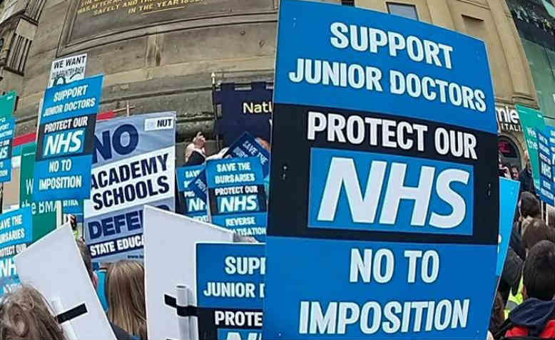 Placards at the Tyneside 'Save Our NHS' demo