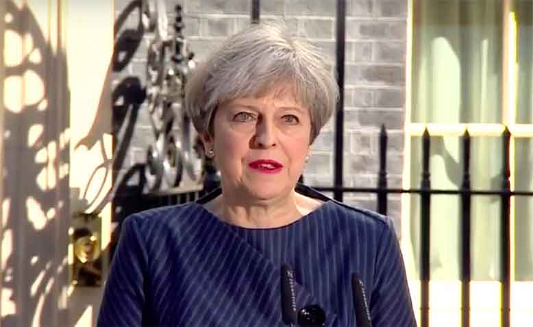Theresa May announcing a snap General Election. Photo: Youtube.