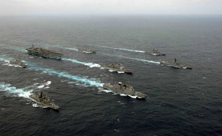 A US carrier strike group on the move