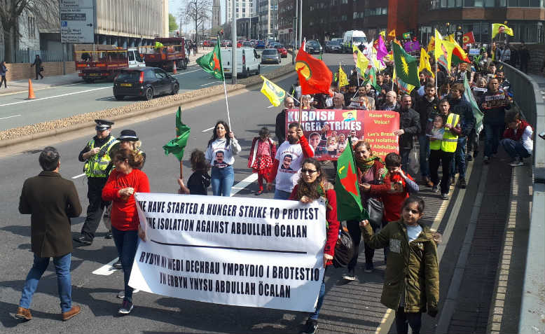 Protesters marching through Cardiff, April 2019. Photo: Kevin Potter