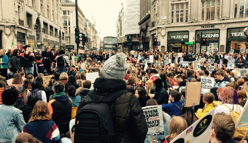 protesters sat in Oxford Circus