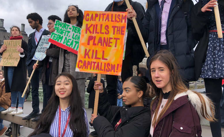 School students striking to demand climate action, Westminster Bridge, 15 March. Photo: Shabbir Lakha