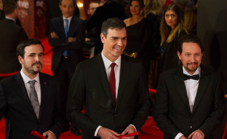 Pedro Sanchez with Alberto Garzon and Pablo Iglesias, 2018. Photo: Wikimedia Commons