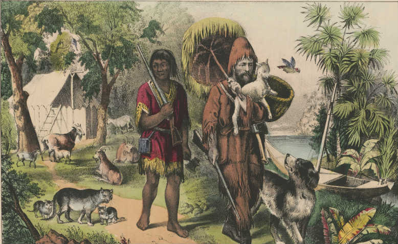 Robinson Crusoe and his man Friday. Published by Currier & Ives 1874, Library of Congress