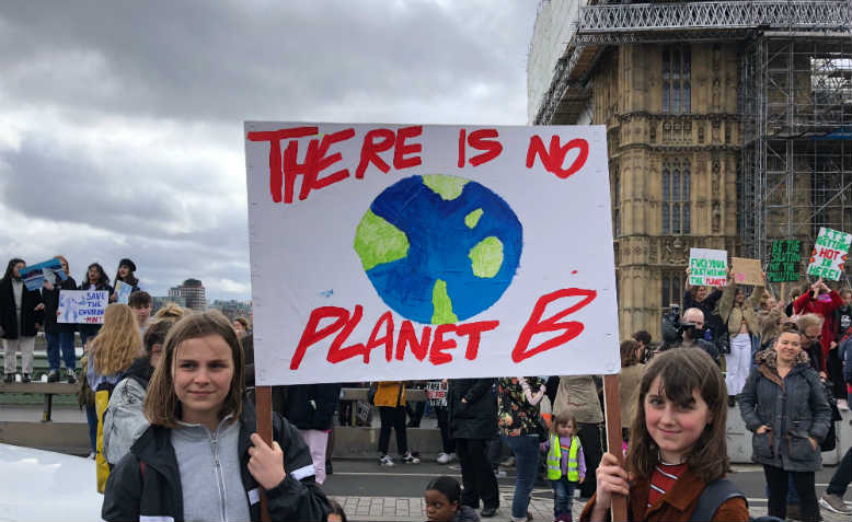 Students occupying Westminster Bridge, Youth Climate Strike 15th March. Photo: Shabbir Lakha