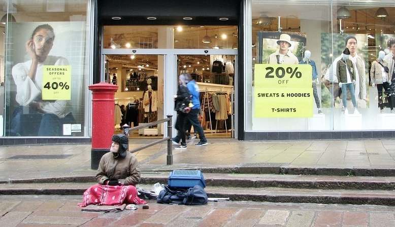 Homeless man in Norwich. Source: Geography.org.uk - Evelyn Simak