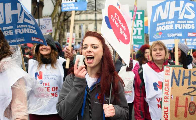 RCN nurses on the People's Assembly's NHS in crisis demonstration, 2018