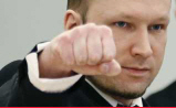 Anders Breivik saluting in court
