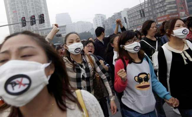 Chinese people protest against petrochemical plant