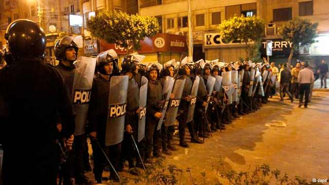 Riot police on the streets of Cairo