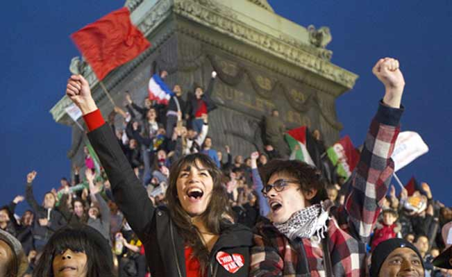 French voters celebrate Hollande's victory