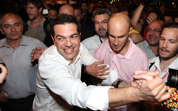 Alexis Tsipras, leader of Syriza coalition celebrates with supporters