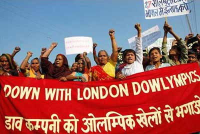 The people of Bhopal protest Dow Chemicals' sponsorship of London 2012