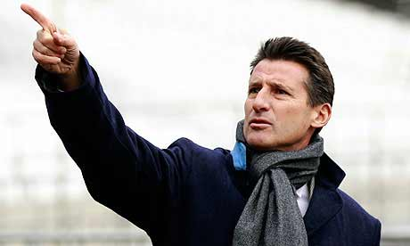 Sebastian Coe practises for policing the Games Lanes