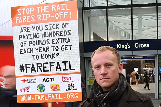 Rail Fare protester