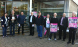 UCU members protesting outside Salford University