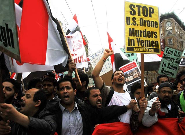 Yemenis in the US protest against drone strikes