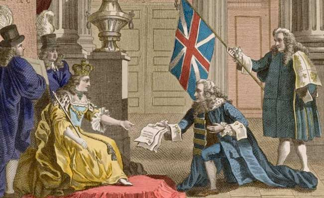The Acts of Union are presented to Queen Anne by the Duke of Queensbury in 1707