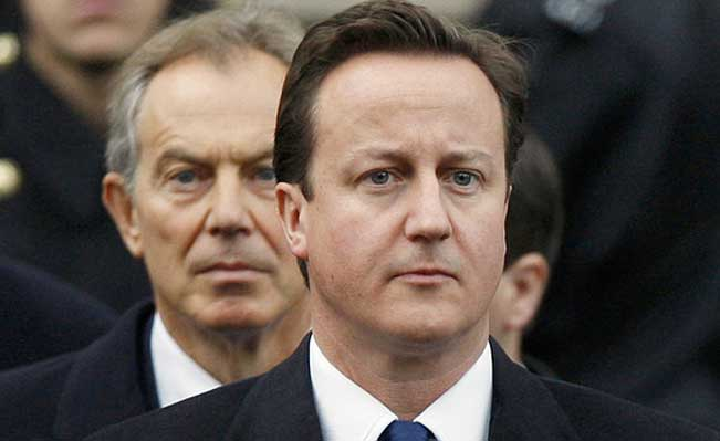 Blair and Cameron at the Cenotaph. Photo: Kirsty Wigglesworth/Associated Press