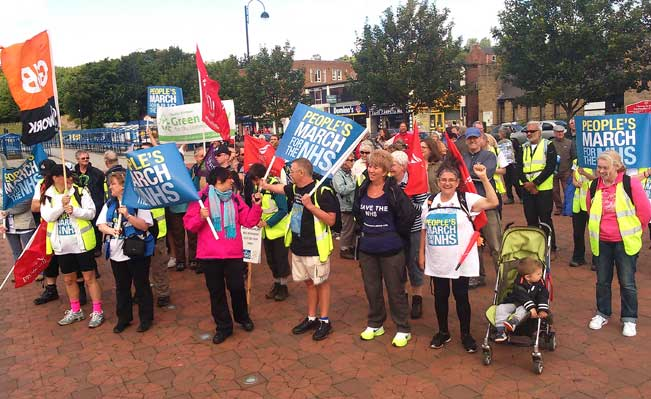 The People's March for the NHS in the North East. Photograph: Mark Tyers