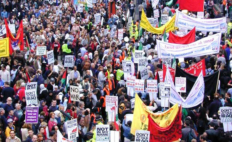Protestors at the 2003 anti-war demonstration in London. Photo: Wikipedia