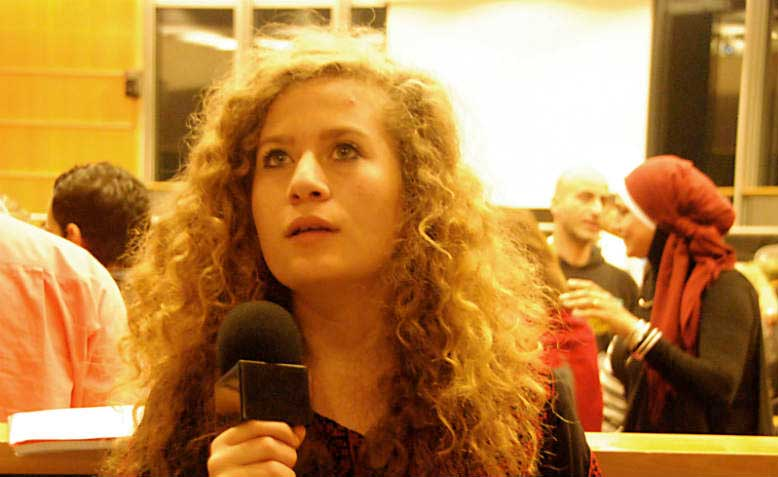 Ahed Tamimi speaking at the role of women in the palestinian popular struggle conference. Photo: Wikimedia commons