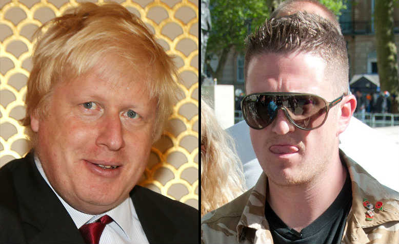 Boris Johnson, Tommy Robinson. Photos: Wikimedia Commons, Flickr/Andy Thornley