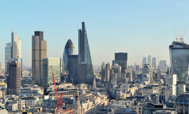 Aerial image of the City of London skyline.