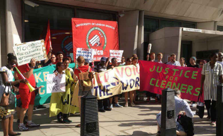 Cleaning staff on strike outside the Ministry of Justice, Tuesday 7th August. Photo: Twitter/@UVWunion