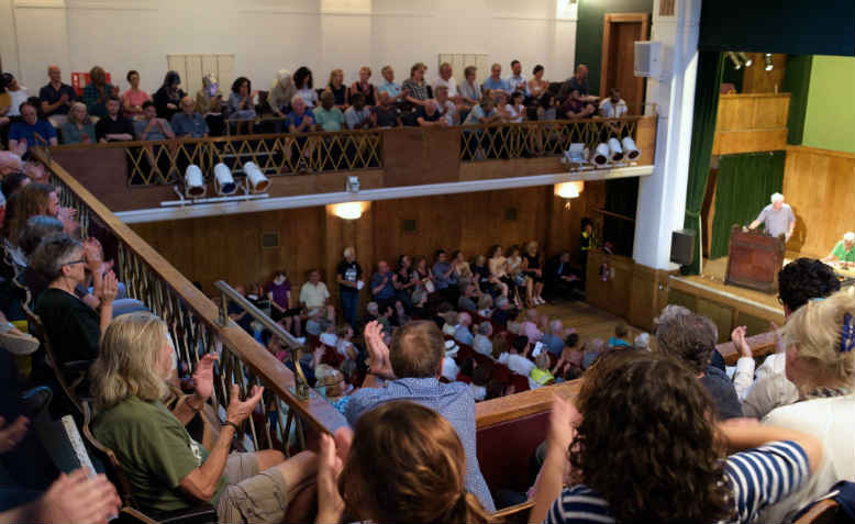 Corbyn, antisemitism and justice for Palestine rally at Conway Hall, 21 August 2018. Photo: Jim Aindow