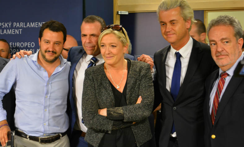 European far right leaders at the European Parliament on May 28 2014 - Salvini (Lega Nord), Vilimsky (FPÖ), Le Pen (FN), Wilders (PVV), Annemans (VB).