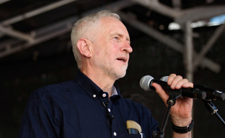Jeremy Corbyn speaking at the NHS demonstration, June 2018