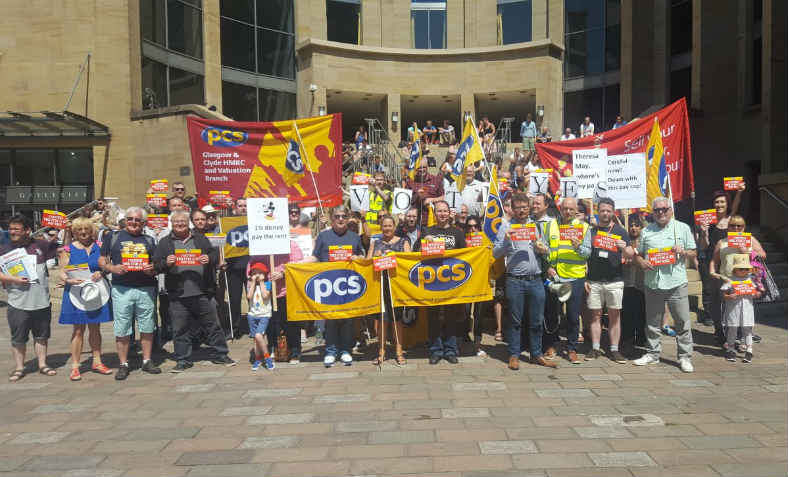 Scotland PCS reps and members rally during the pay strike ballot. Photo: PCS website