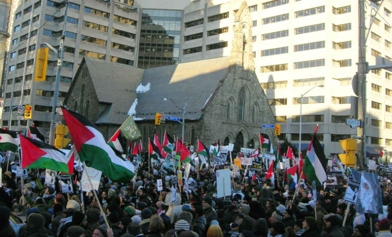 Palestinian flags in Toronto protest