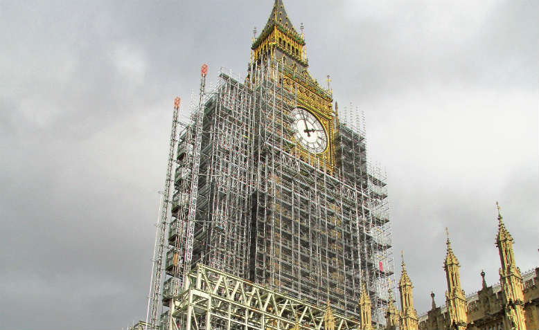Big Ben in scaffolding. Photo: Flickr/David Holt
