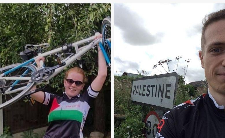 Cyclist riding out for the Big Ride for Palestine. Photos: Lucy Nichols/Thomas Gibbs