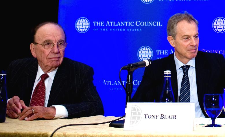 Rupert Murdoch and Tony Blair. Photo: US Navy / Wikimedia Commons / Public Domain