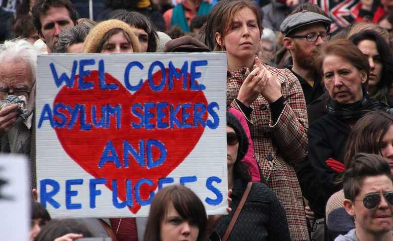 Refugees Welcome protest, Photo: John Englart / Flickr / cropped from original / licensed under CC BY-SA 2.0
