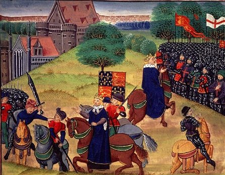 Painting depicting the end of the peasant's revolt as Walworth kills Wat Tyler