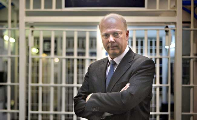 Wrong side of the bars? Chris Grayling in prison. Photograph: Anthony Devlin/PA