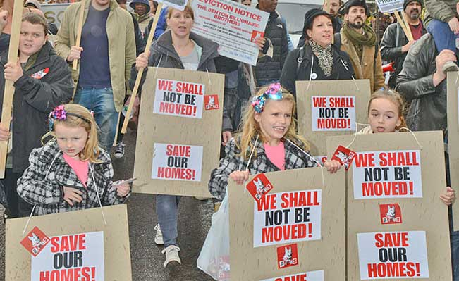 Protestors marching to save social housing at the New Era Estate in Hackney. Photo: Jules Annan
