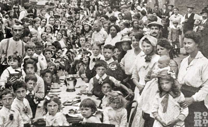Peace Party in Norman Road, Bow, 1919, organised by Sylvia Pankhurst's friend Mrs Savoy to mark the Armistice and the end of the Great War