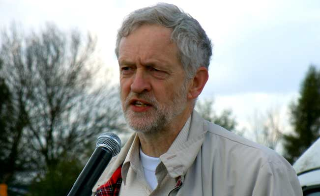 Jeremy Corbyn speaks at an anti-drones rally in 2013. Source: Wikimedia