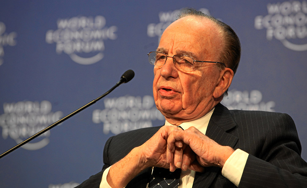 Rupert Murdoch speaking at the World Economic Forum. Source: Wikipedia