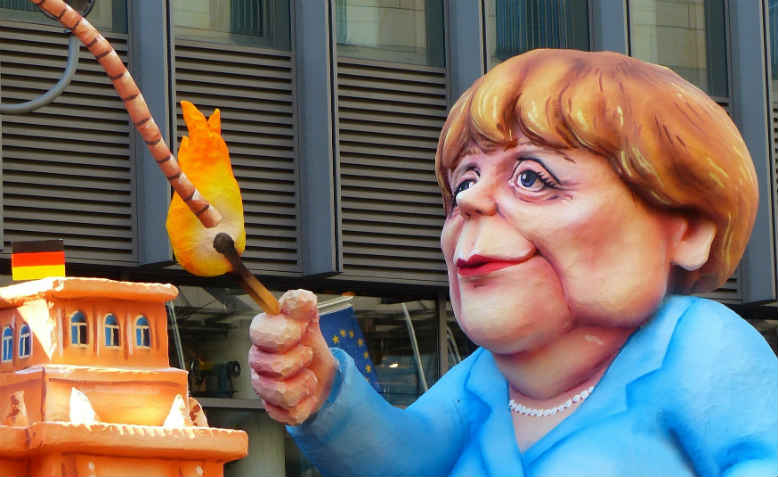 Caricature of Angela Merkel at an anti-TTIP demonstration. Photo: Pixabay
