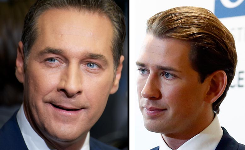 Heinz Christian Strache, Freedom Party (FPÖ), and Sebastian Kurz, Austrian People's Party (ÖVP). Photos: Wikimedia Commons